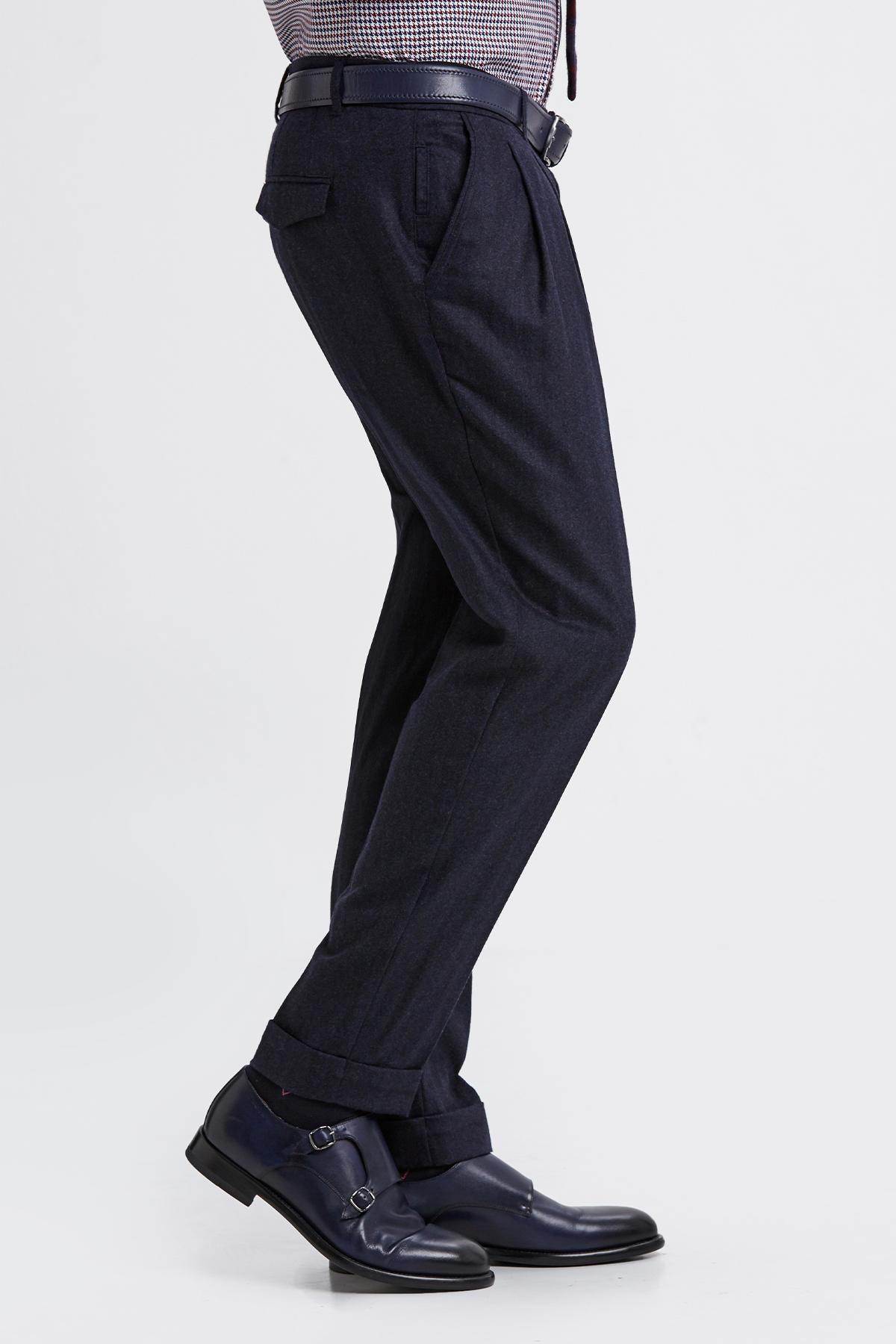 Yün Kaşmir Lacivert Chino Pantolon
