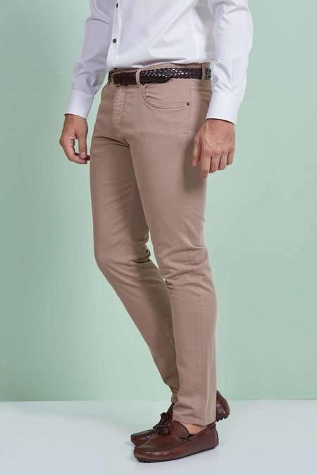 Bej Slim Fit Spor Kanvas Pantolon