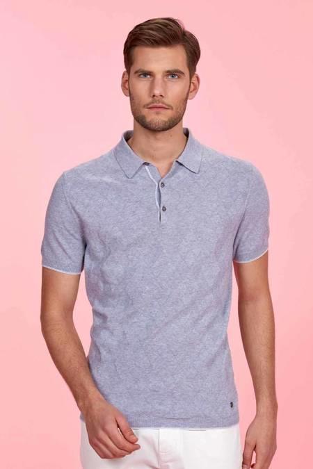 Desenli Açık Gri Triko Polo T-Shirt