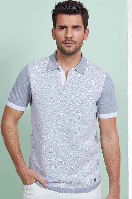 Açık Gri Desenli Triko Polo T-Shirt
