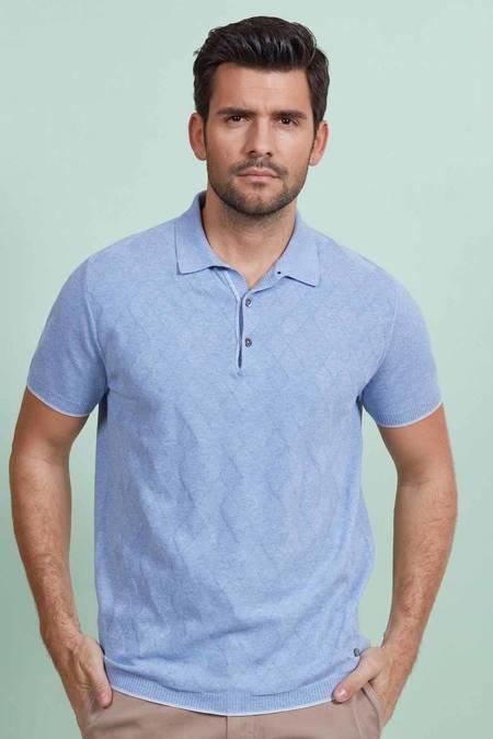 Desenli Açık Mavi Triko Polo T-Shirt