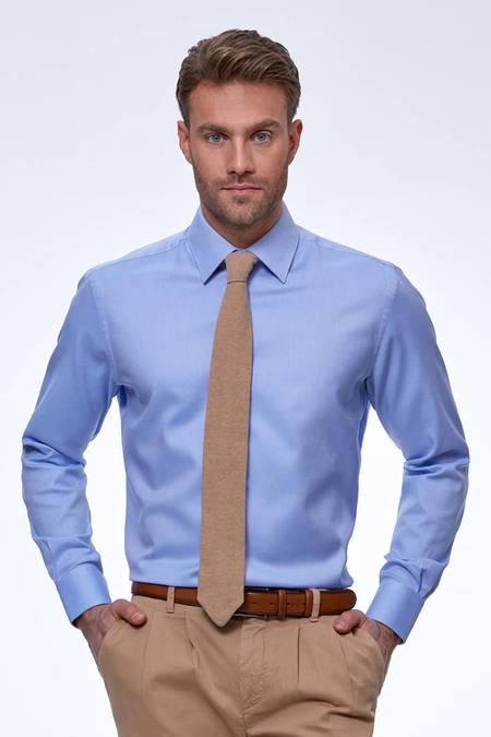 Açık Mavi Diyagonal Doku Non-Iron Business Gömlek