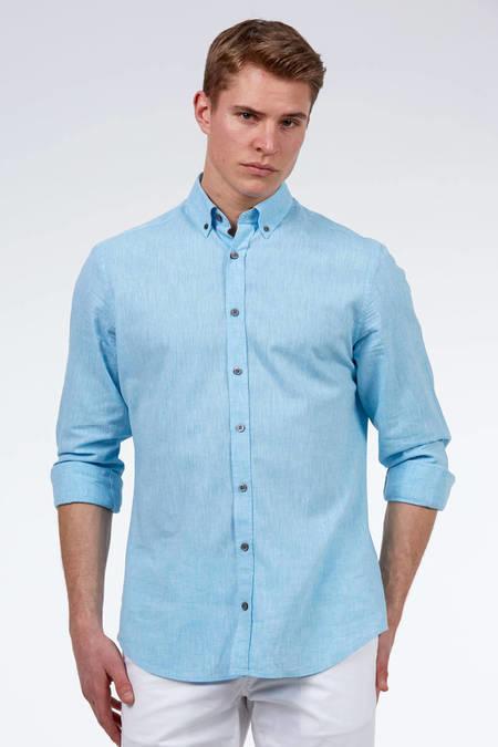 Açık Mavi Pamuk Keten Gömlek