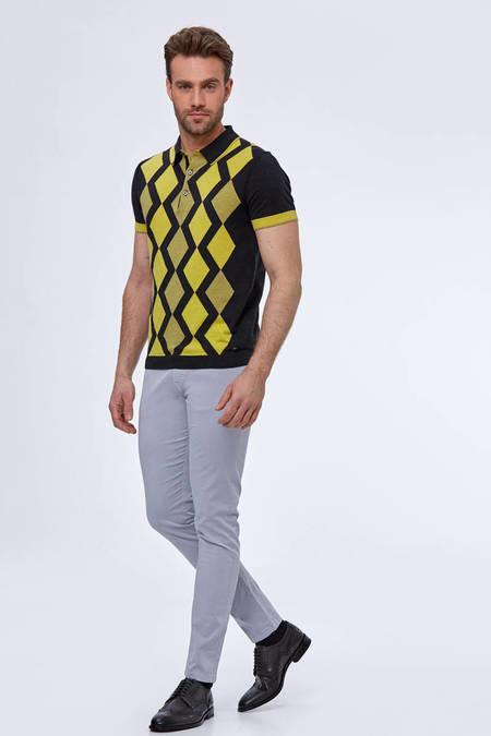 Baklava Desen Antrasit-Sarı Triko Polo T-Shirt