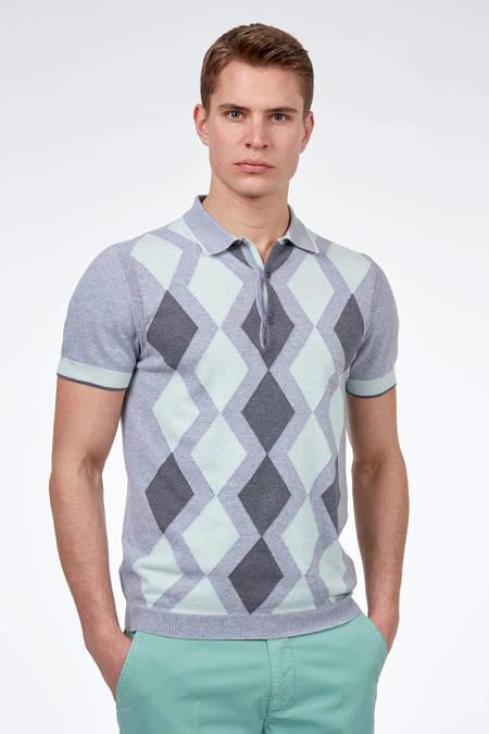 Gri Baklava Desen Triko Polo T-Shirt