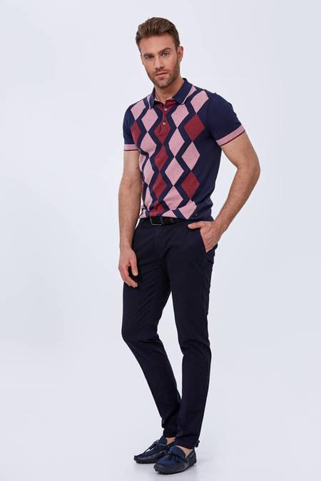 Baklava Desen Lacivert-Pembe Triko Polo T-Shirt