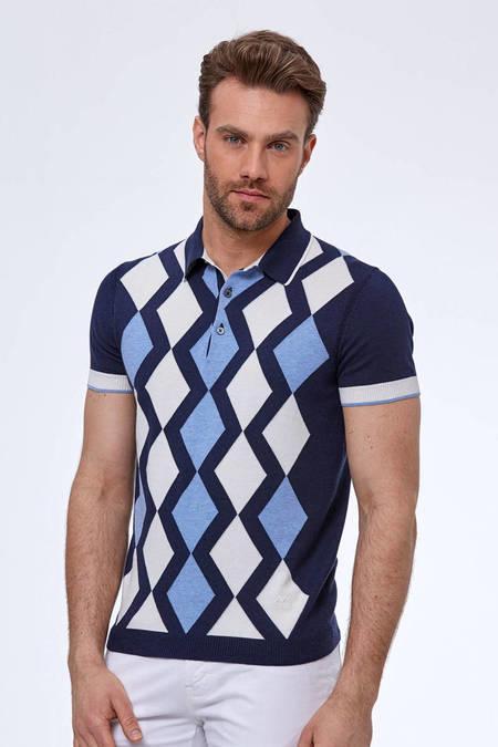 Baklava Desen Lacivert-Beyaz Triko Polo T-Shirt