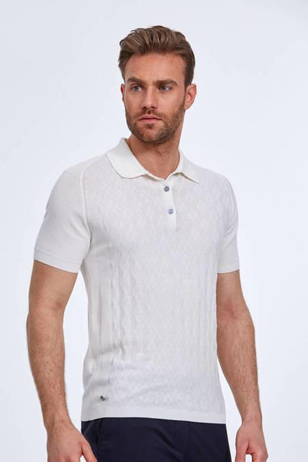 Desenli Giza Pamuk Beyaz Triko Polo T-Shirt
