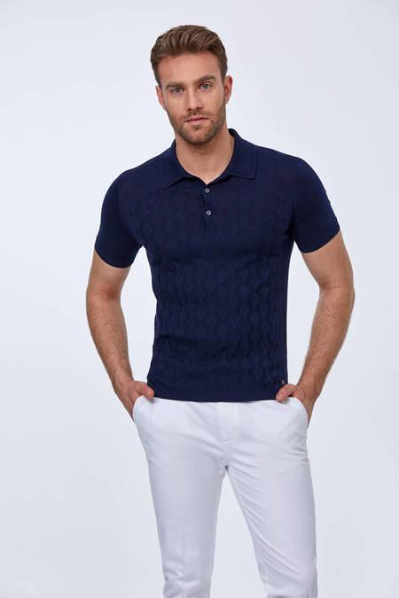 Desenli Giza Pamuk Lacivert Triko Polo T-Shirt