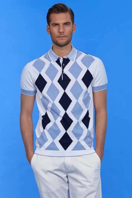 Baklava Desenli Beyaz Triko Polo T-Shirt