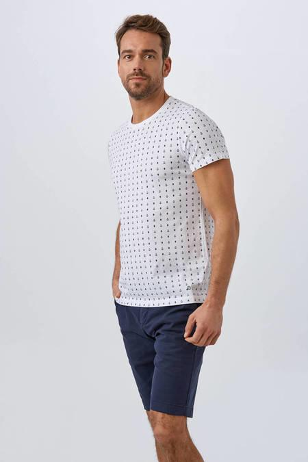 Beyaz Baskılı Pamuk T-Shirt