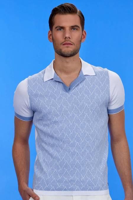 Beyaz Desenli Triko Polo T-Shirt