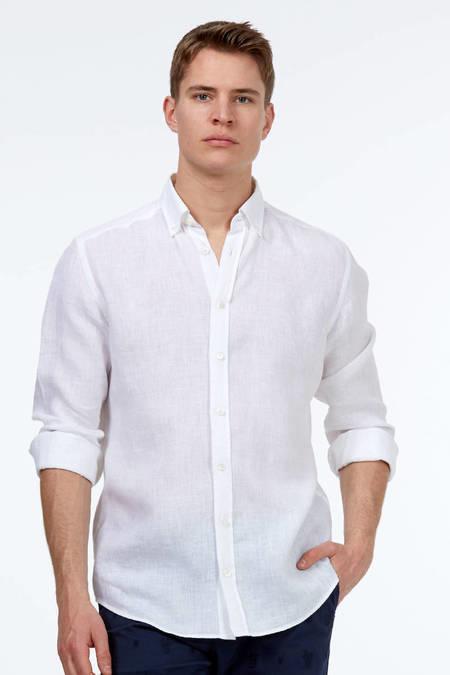Beyaz Keten Spor Gömlek
