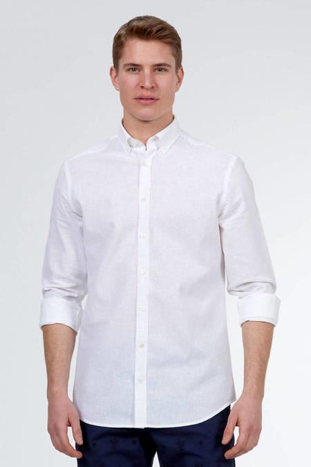 Beyaz Pamuk Keten Gömlek
