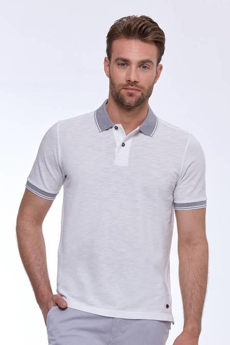 Beyaz Vintage Görünüm Polo Yaka T-Shirt