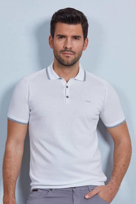 Beyaz Giza Pamuk Triko Polo T-Shirt
