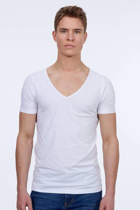 Derin V Yaka Beyaz İnce Pamuk T-Shirt
