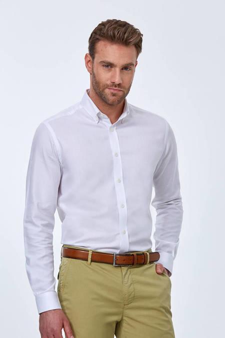Beyaz Yazlık Oxford Gömlek