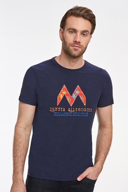 Bisiklet Yaka Nakışlı Lacivert Pamuk T-shirt