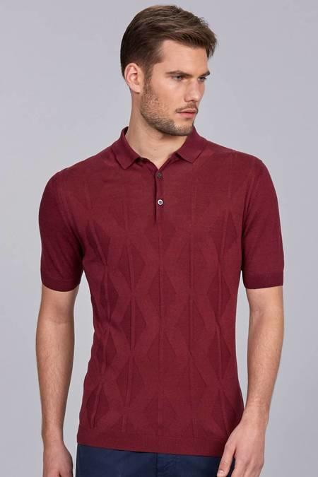 Bordo İpek Triko Polo T-Shirt