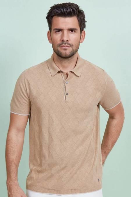 Desenli Camel Triko Polo T-Shirt