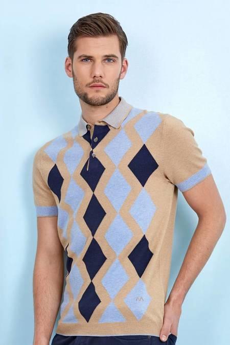 Baklava Desenli Camel Triko Polo T-Shirt