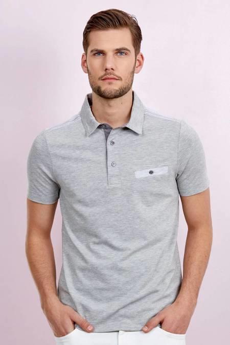 Cepli Açık Gri Polo Yaka Pamuk T-Shirt