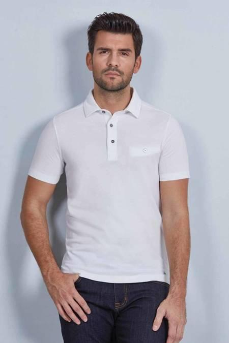 Cepli Beyaz Polo Yaka Pamuk T-Shirt