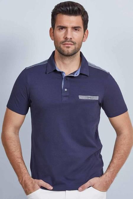 Cepli Lacivert Polo Yaka Pamuk T-Shirt