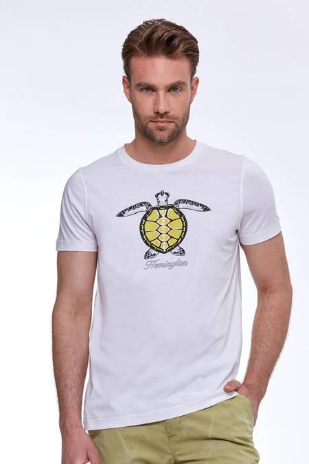 Baskılı Beyaz Pima Pamuk T-Shirt