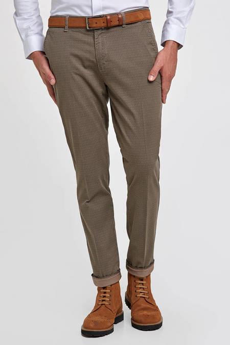 Desenli Kahverengi Pamuk Chino Pantolon