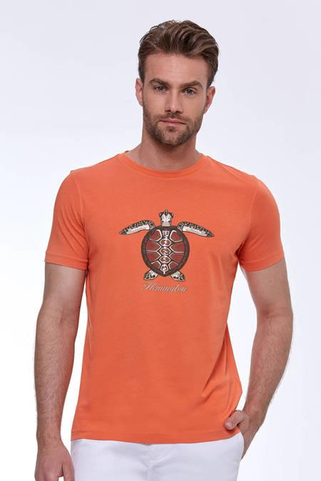 Baskılı Turuncu Pima Pamuk T-Shirt