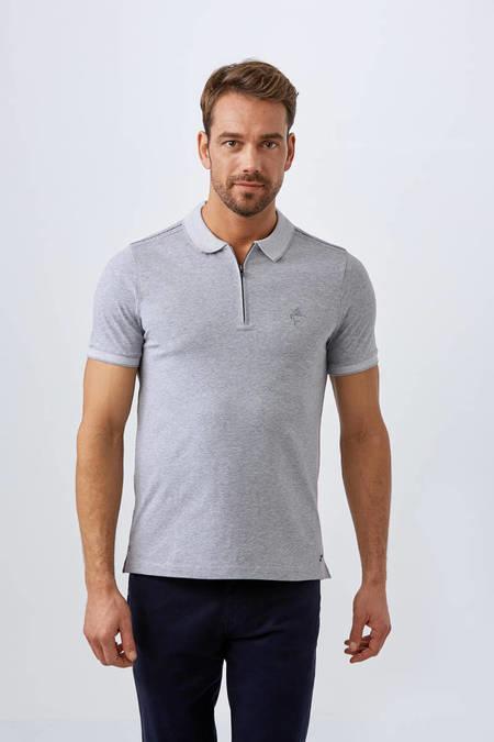 Fermuarlı Açık Gri Polo Yaka T-Shirt