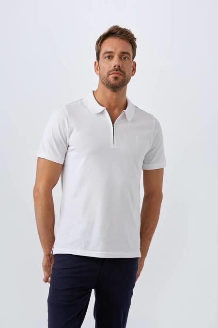 Fermuarlı Beyaz Polo Yaka T-Shirt