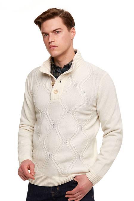 Kaşmir Yün Saç Örgü Beyaz Spor Kazak