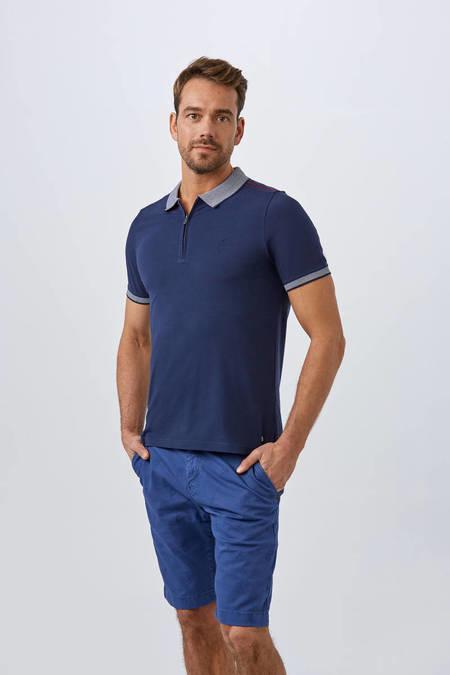 Fermuarlı Lacivert Polo Yaka T-Shirt