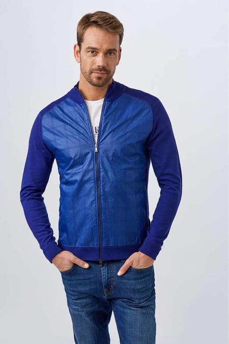 Mavi Giza Pamuk Triko Ceket