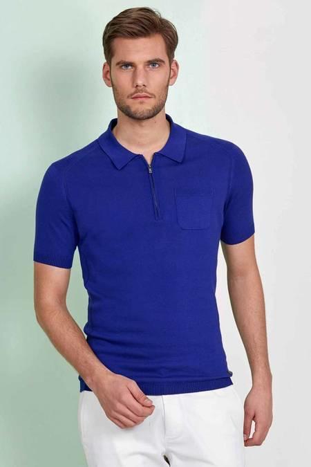 Fermuarlı Mavi Giza Pamuk Triko Polo T-Shirt
