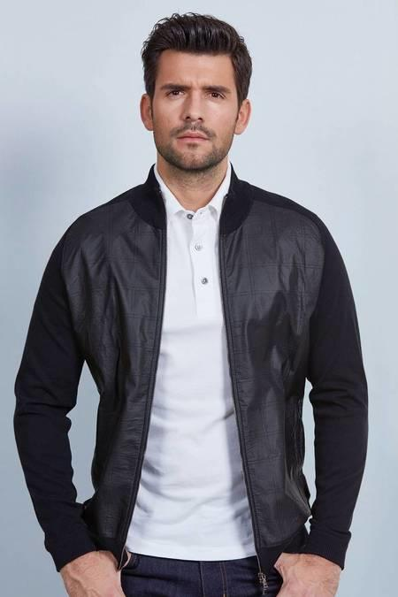 Siyah Giza Pamuk Triko Ceket