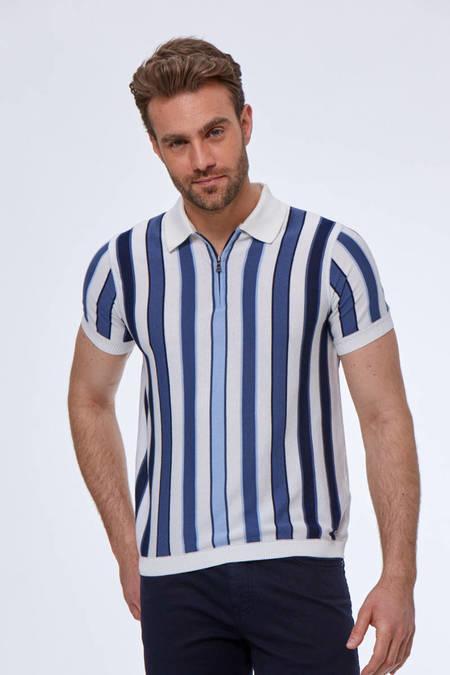Lacivert Beyaz Çizgili Giza Pamuk Triko Polo T-Shirt