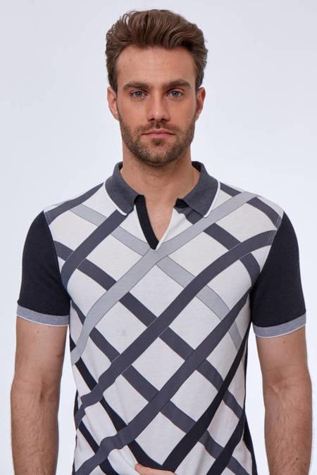 Gri Beyaz Desenli Giza Pamuk Triko Polo T-Shirt