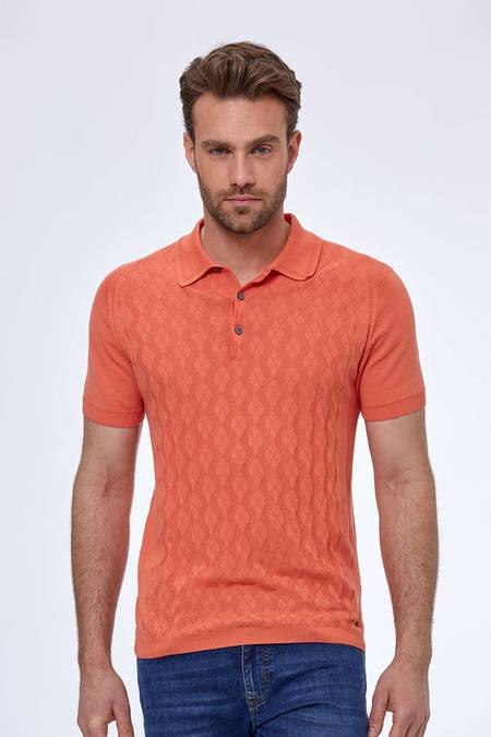 Desenli Giza Pamuk Turuncu Triko Polo T-Shirt