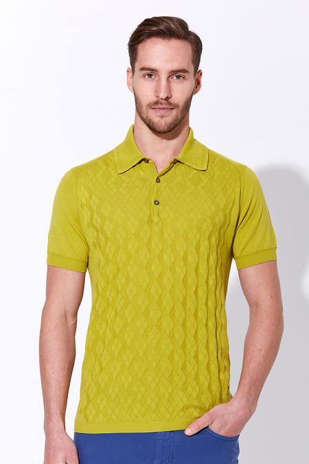 Desenli Giza Pamuk Yeşil Triko Polo T-Shirt