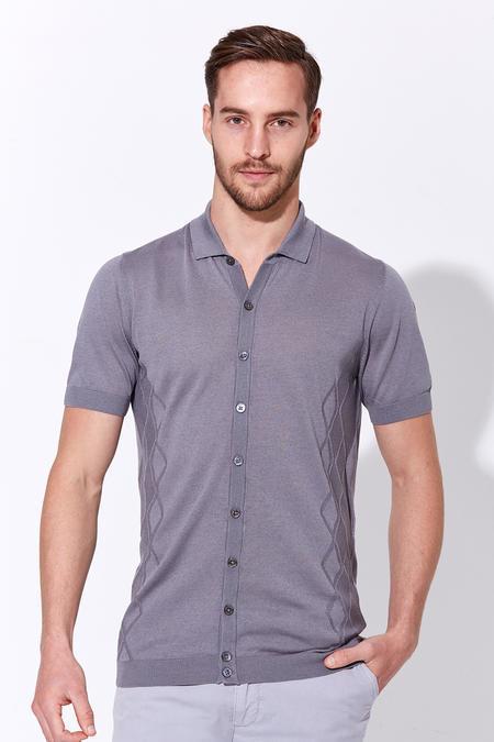 Gri İpek Triko Gömlek T-Shirt