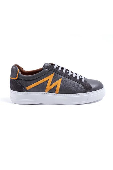 Gri M Logolu Yazlık Deri Sneakers