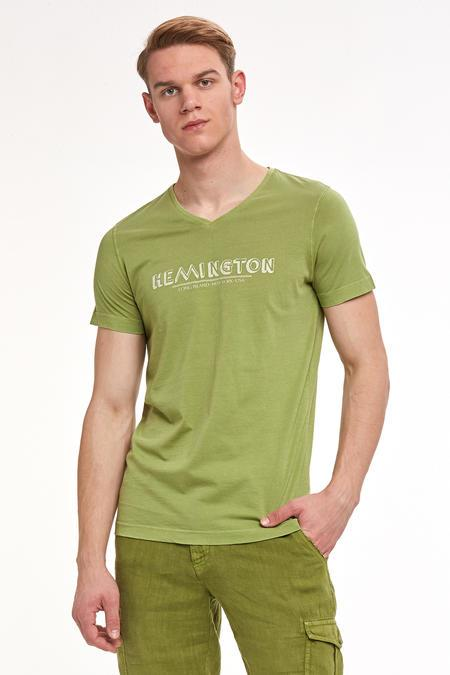Hemington Baskılı Yeşil V-Yaka T-shirt