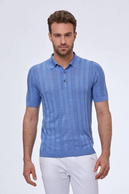 Desenli İpek Açık Mavi Triko Polo T-Shirt