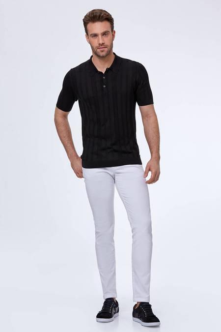 Desenli İpek Siyah Triko Polo T-Shirt