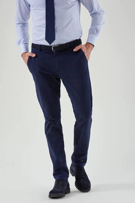 Kadife Dokulu Lacivert Chino Pantolon