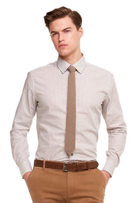 Kareli Kahverengi Business Gömlek